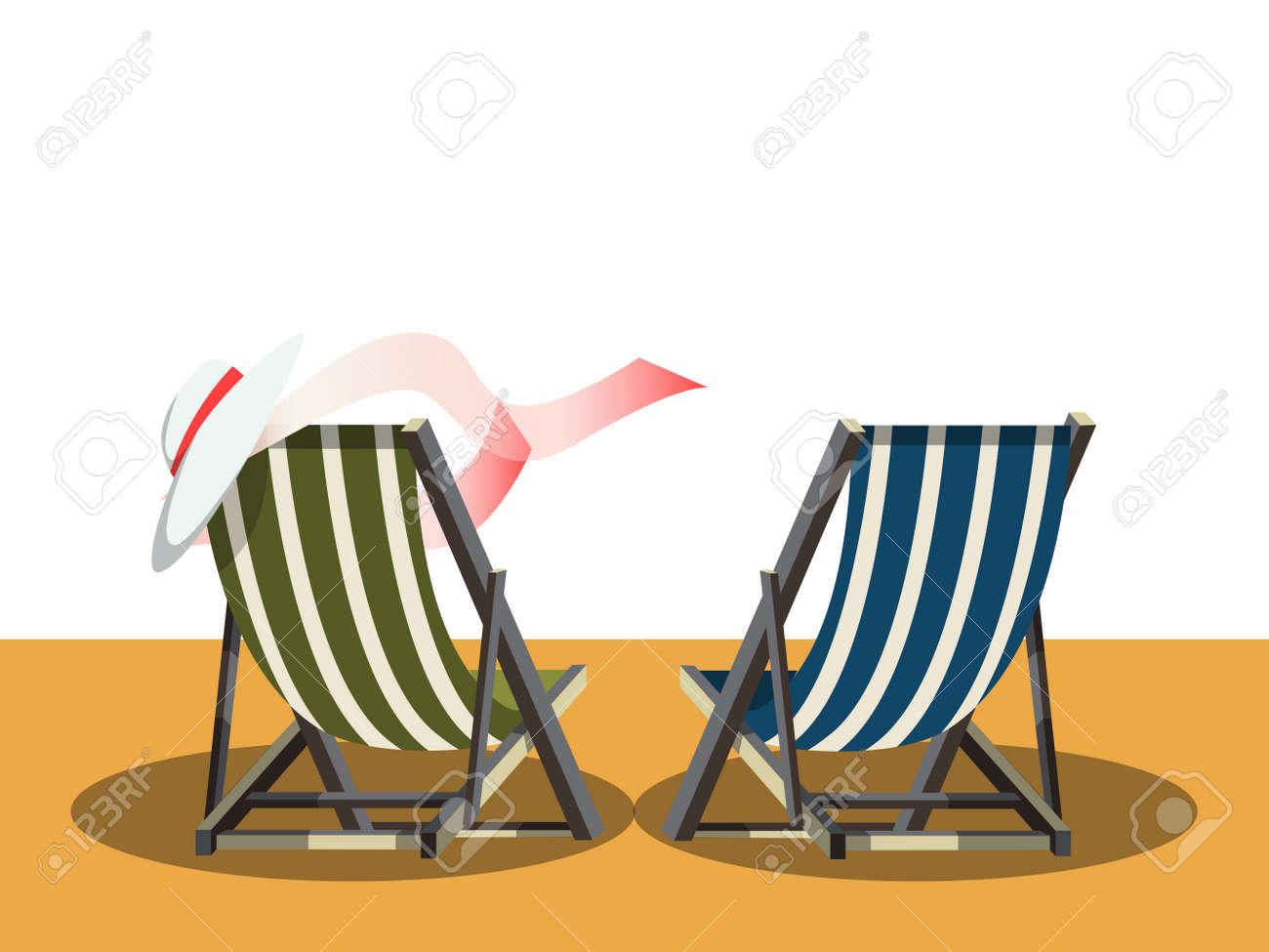 Sillas De Cubierta En La Playa Ilustracion De Dibujos Animados De