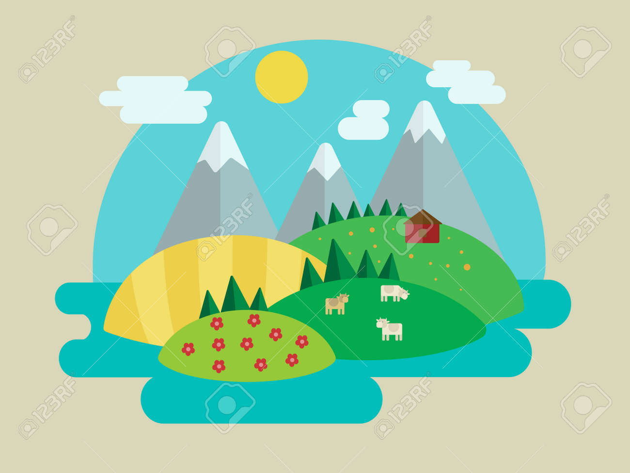 Paisagem Minimalista Natureza Ilustracao Vetorial Colorido Dos
