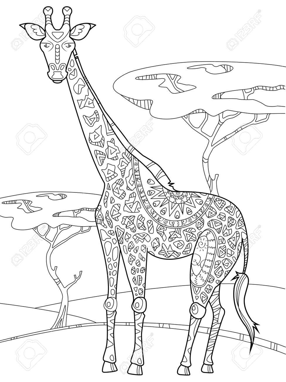 Giraffe Coloring Book Vector Illustration. Anti-stress Coloring ...