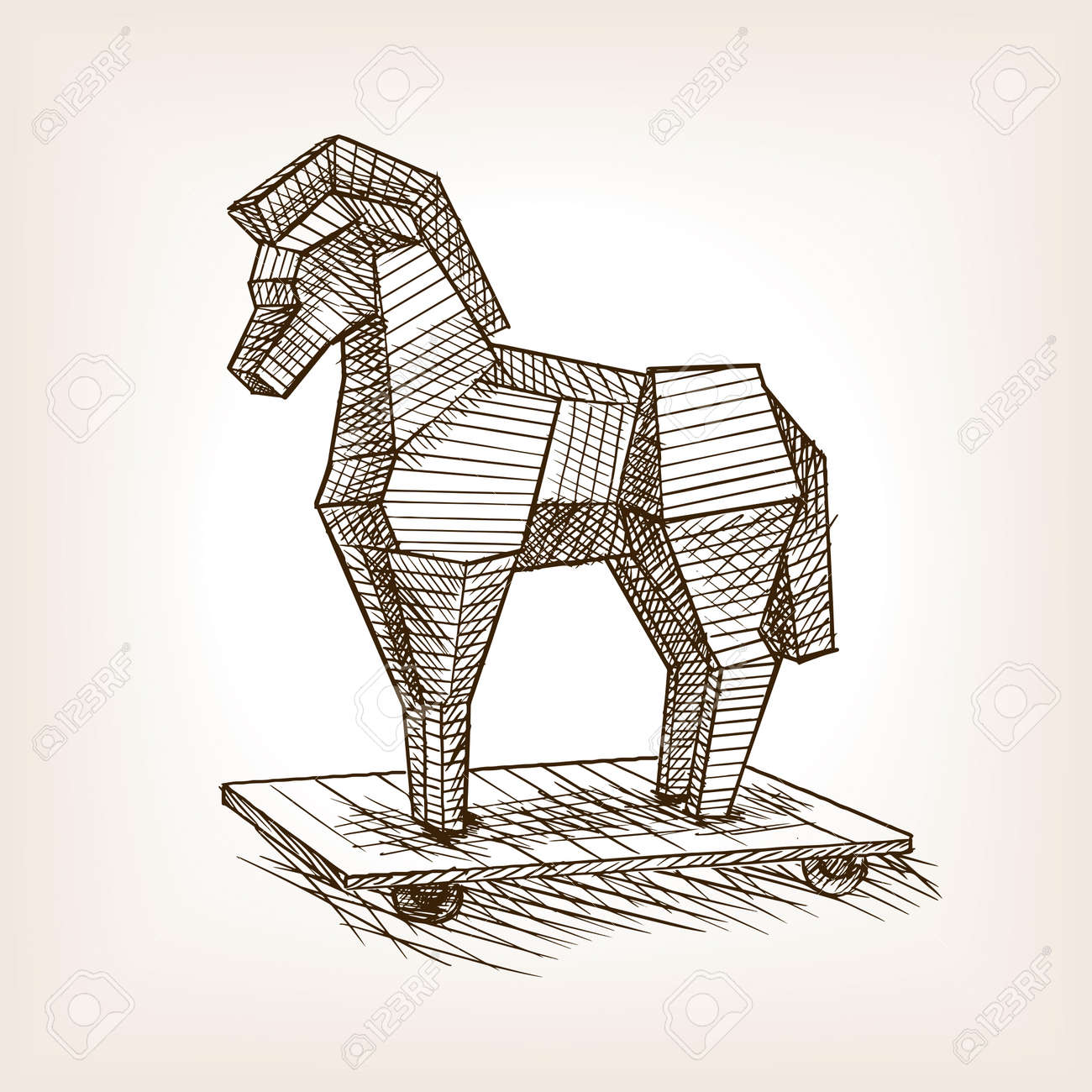 Trojan Horse Sketch Style Vector Illustration Historical Object Royalty Free Cliparts Vectors And Stock Illustration Image 62977529