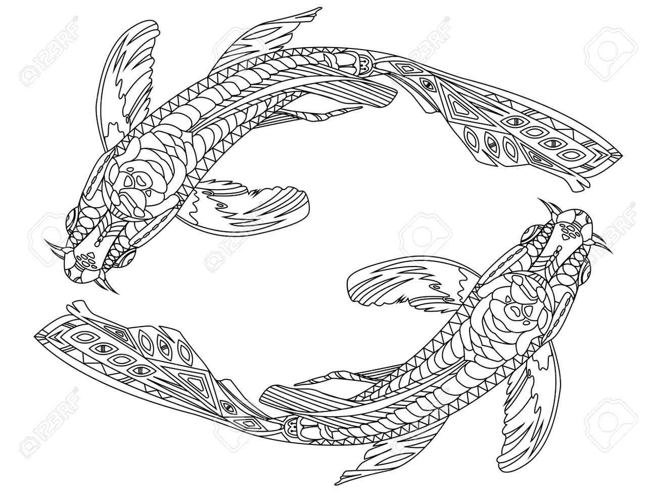 Koi-Karpfen Fisch Malbuch Für Erwachsene Vektor-Illustration ...