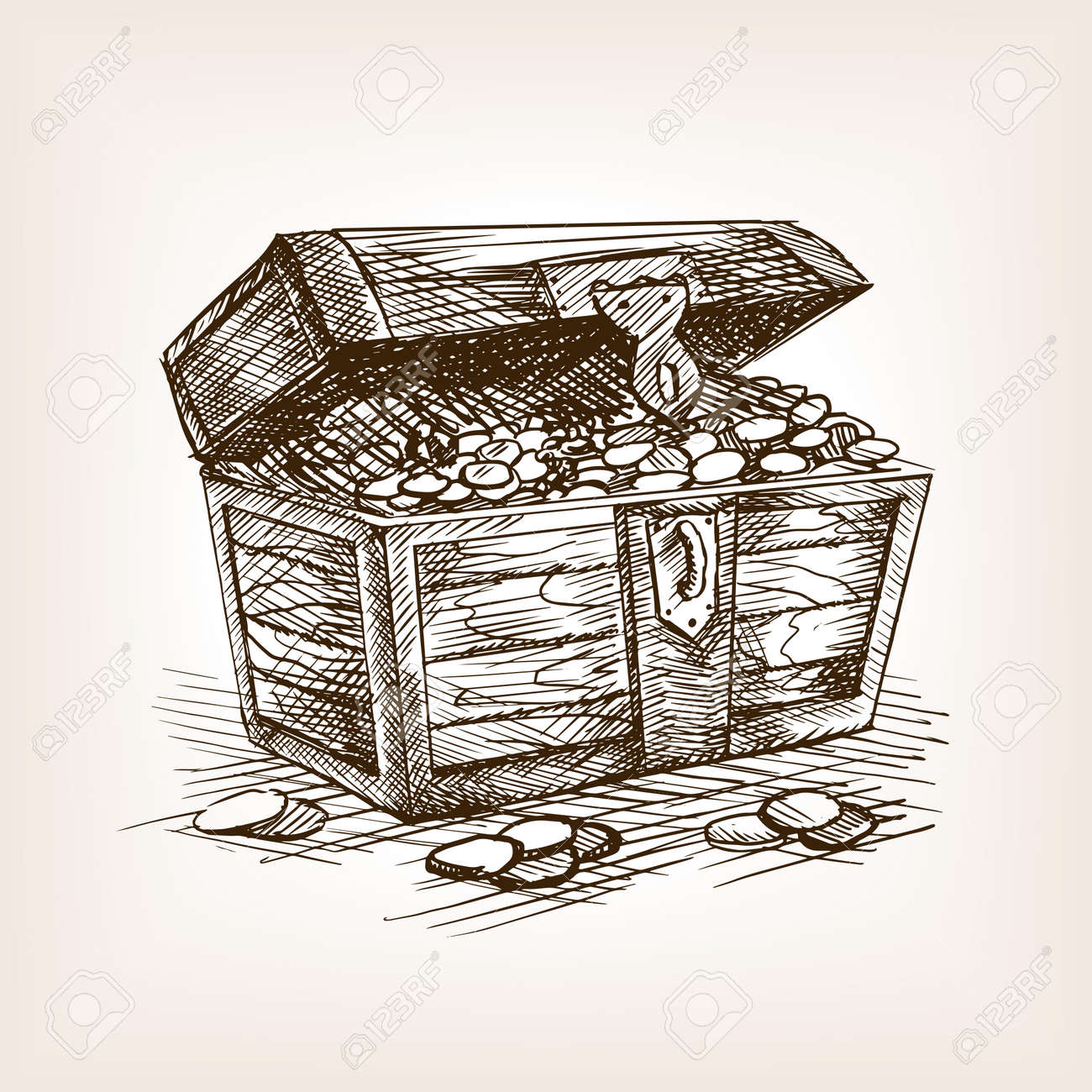 treasure chest sketch style vector illustration old hand drawn