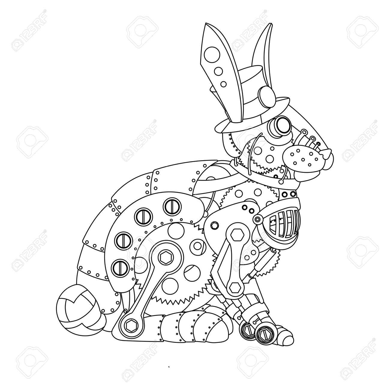 スチーム パンクなスタイルのウサギ機械動物大人のベクトル イラスト