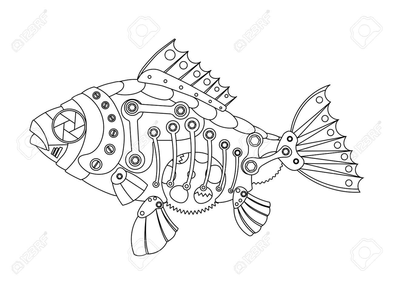 スチーム パンクなスタイルの魚機械動物大人のベクトル イラストの