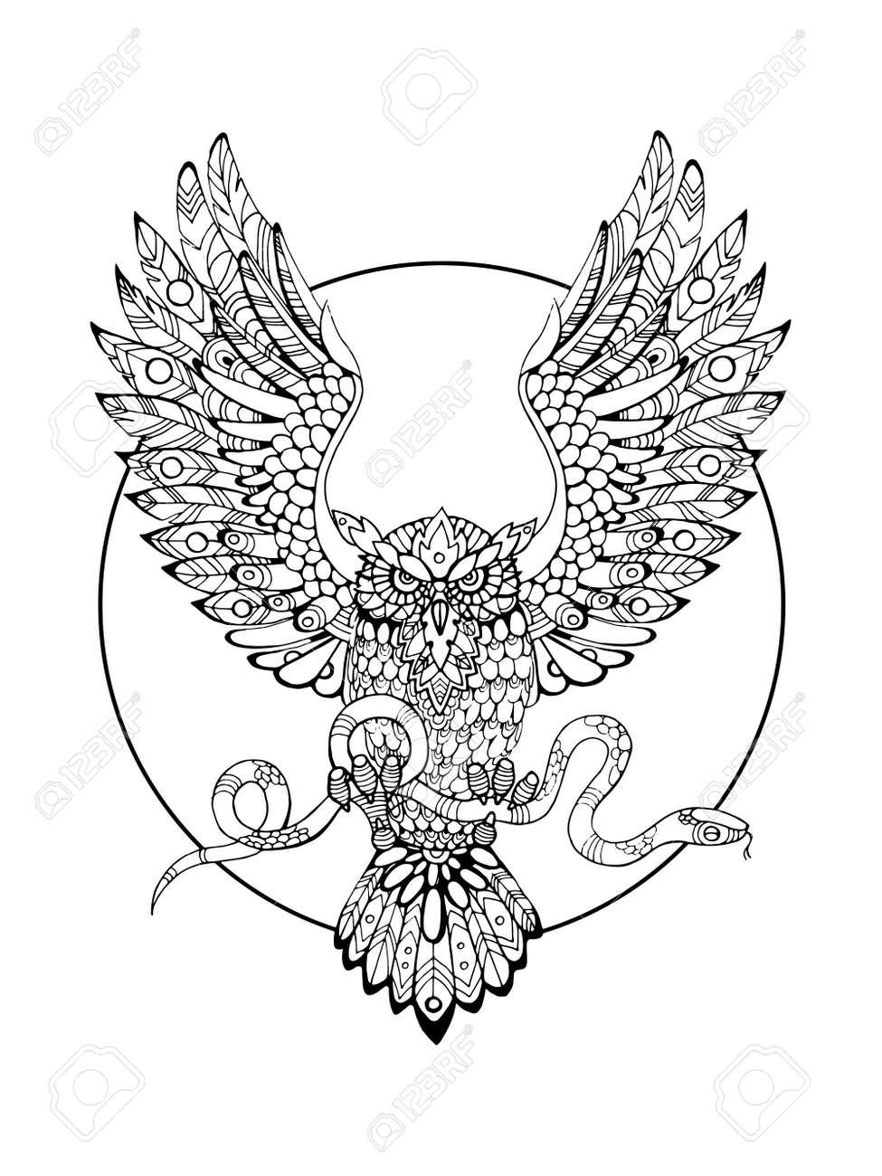 大人ベクトル イラストの塗り絵蛇と鳥はフクロウ入れ墨のステンシル