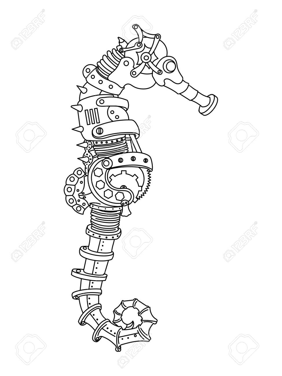 ste unk style sea horse mechanical animal coloring book for  ste unk style sea horse mechanical animal coloring book for adult vector illustration stock