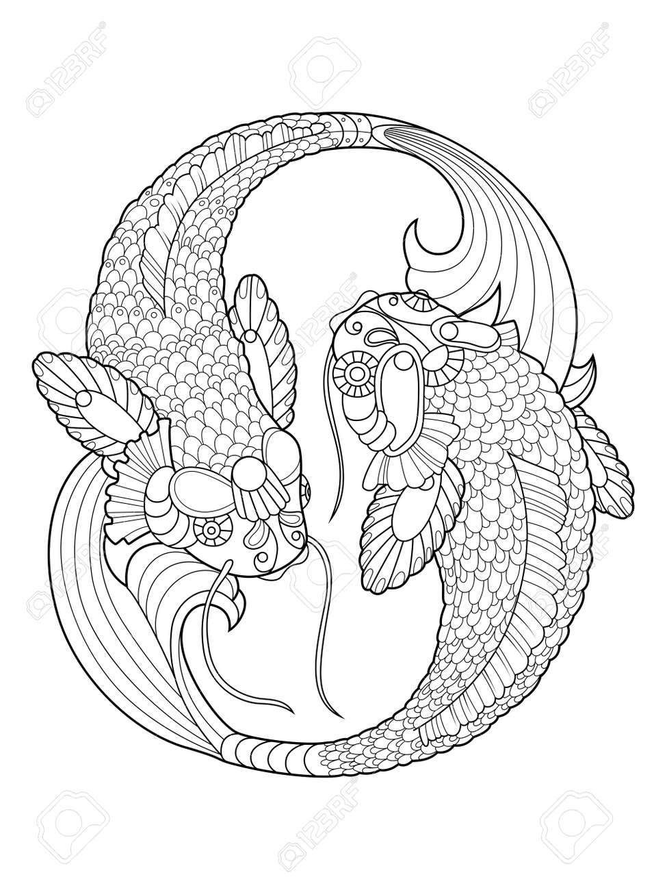 - Koi Carp Fish Coloring Book For Adults Vector Illustration. Anti