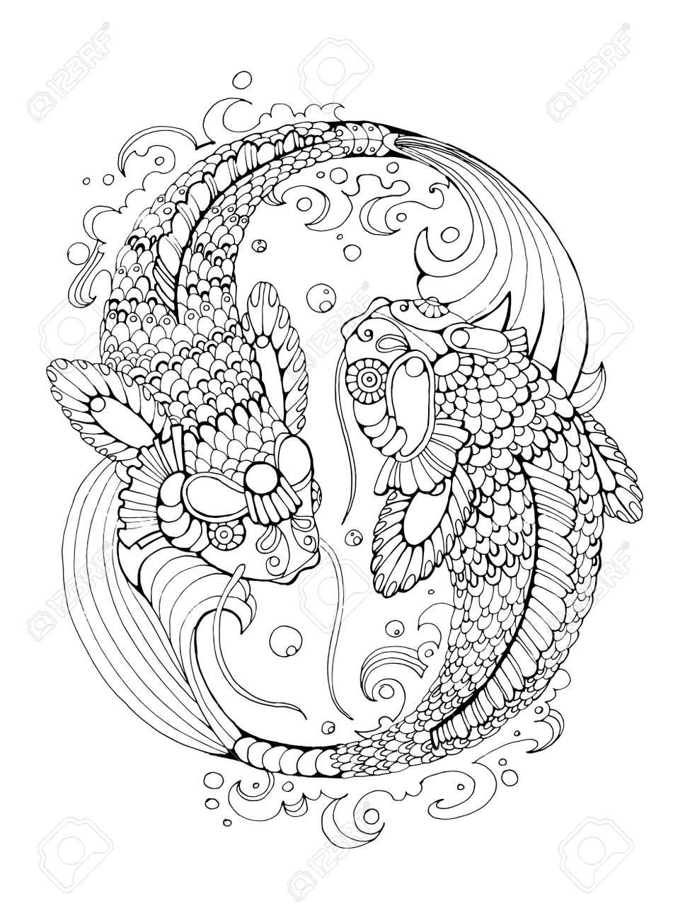 Koi Libro Para Colorear Peces Carpa Para La Ilustración Vectorial ...