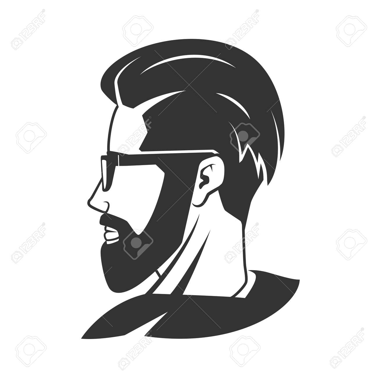 L Homme A La Barbe Hippie Vecteur Barbershop Illustration