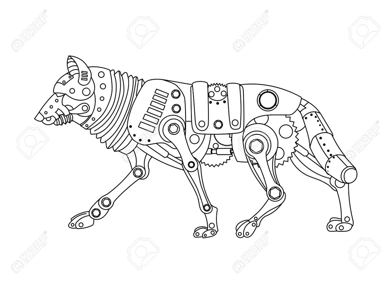 ste unk style wolf mechanical animal coloring book for adult  ste unk style wolf mechanical animal coloring book for adult vector illustration stock vector