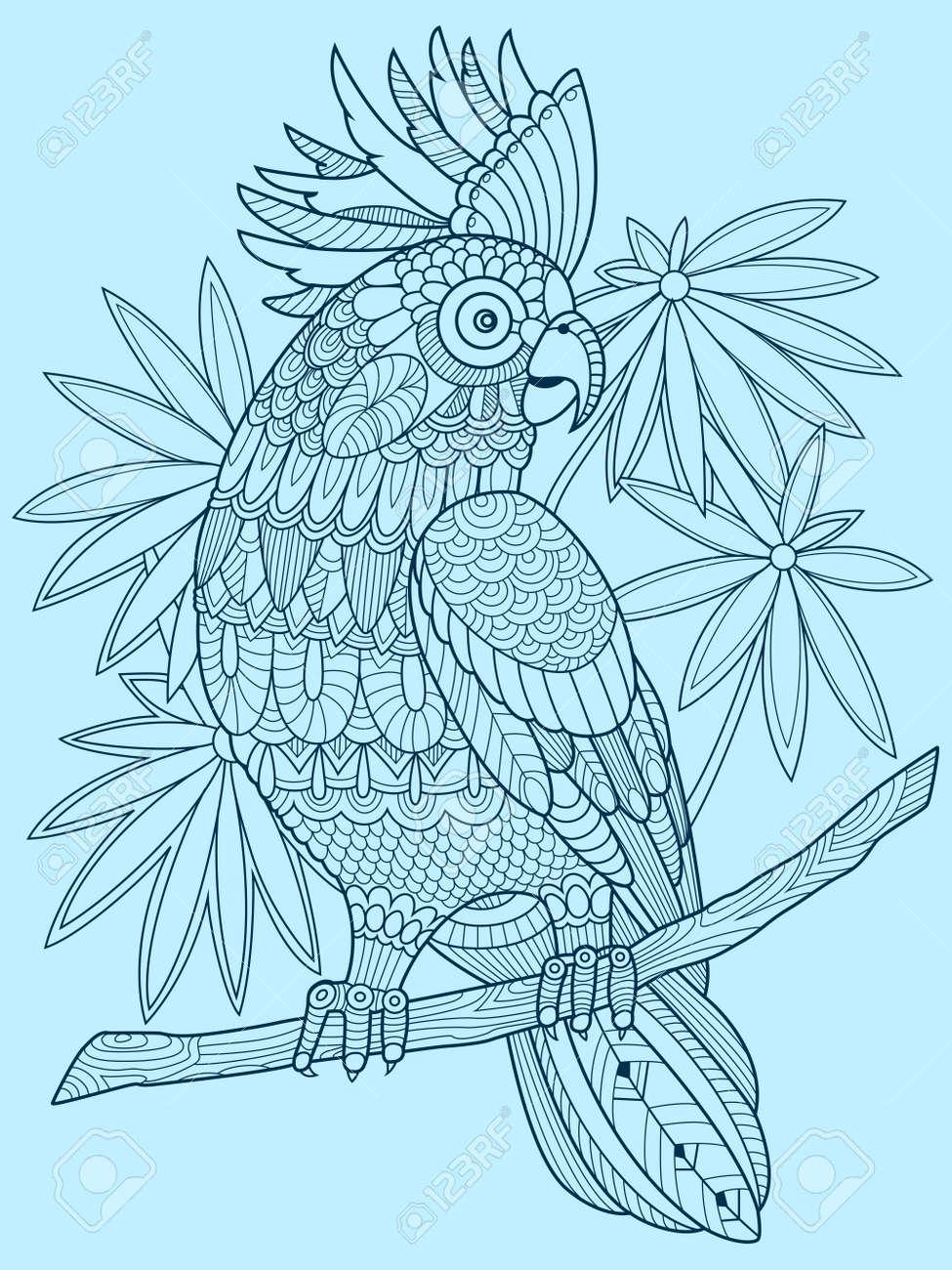 Coloriage Anti Stress Perroquet.Livre A Colorier De Perroquet De Cacatoes Pour Les Adultes Vector Illustration Colorant Anti Stress Pour Adulte Pochoir De Tatouage Style