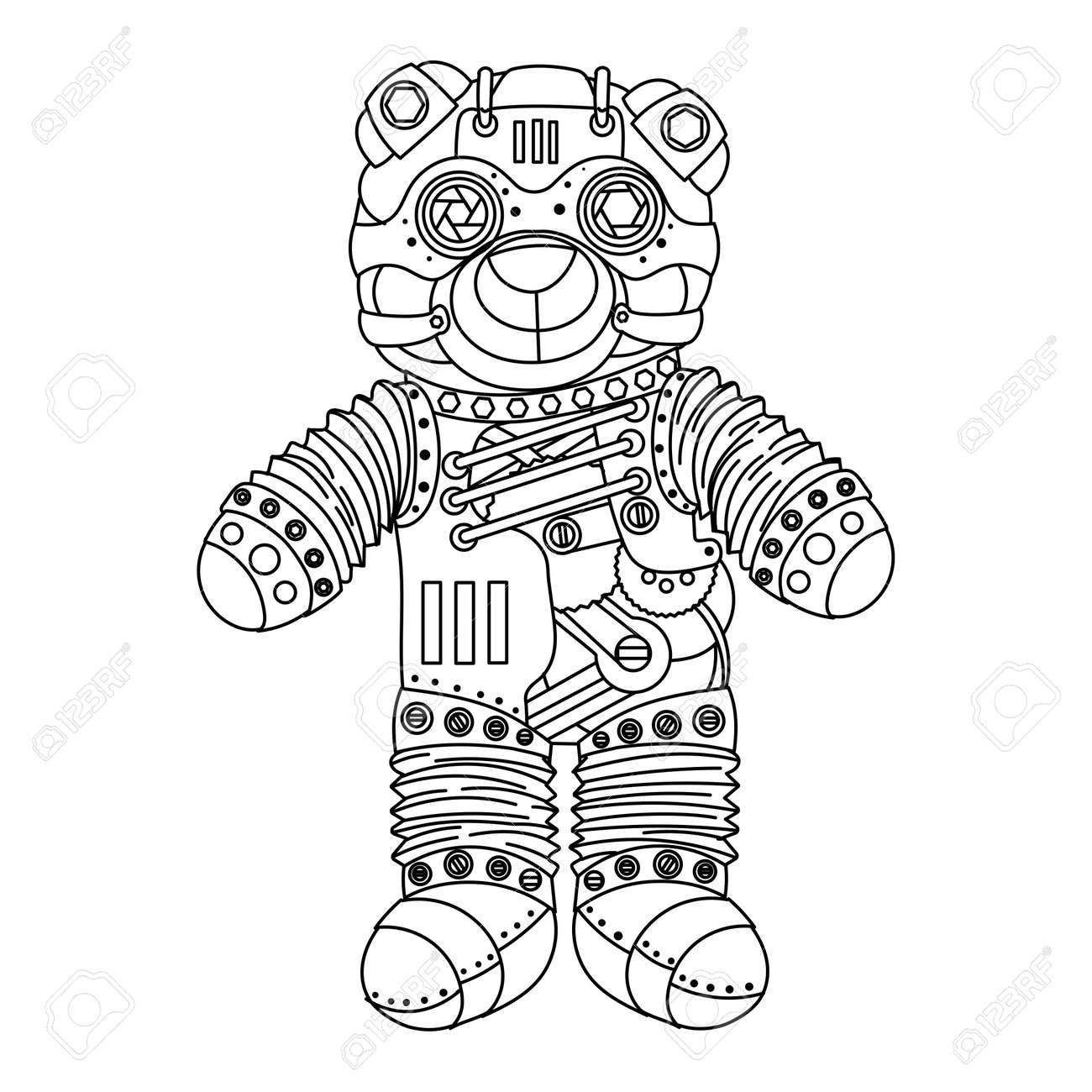 ste unk style bear mechanical animal coloring book for adult  ste unk style bear mechanical animal coloring book for adult illustration stock vector