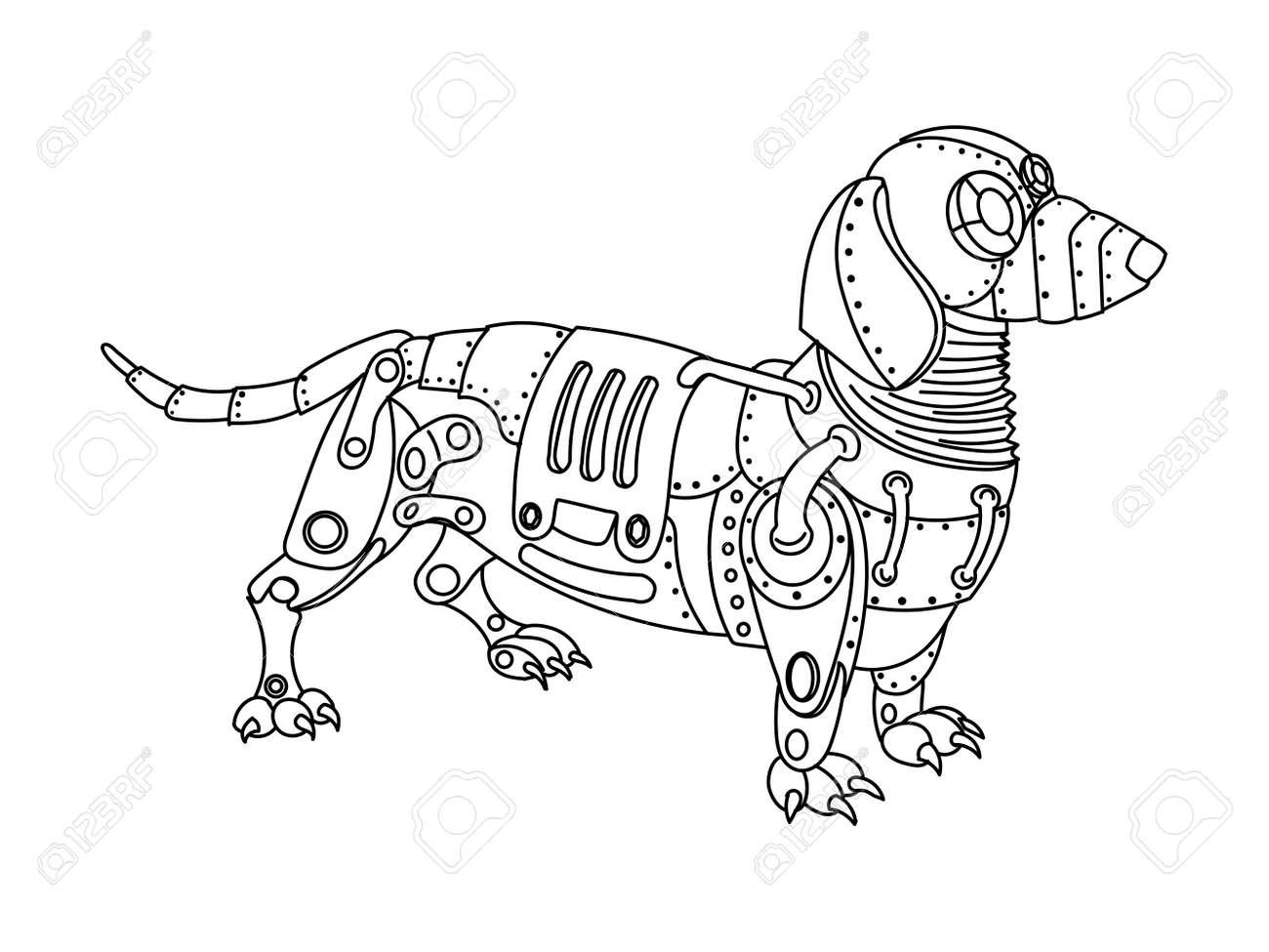 Steampunk Perro Dachshund Estilo. Animales Mecánica. Libro De ...