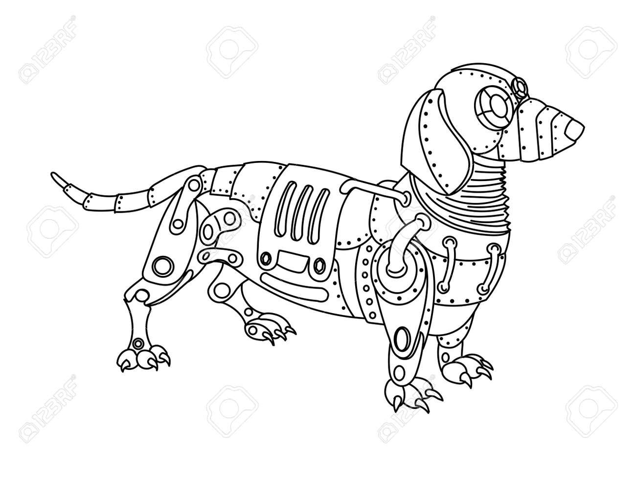 ste unk style dachshund dog mechanical animal coloring book  ste unk style dachshund dog mechanical animal coloring book for adult illustration stock vector