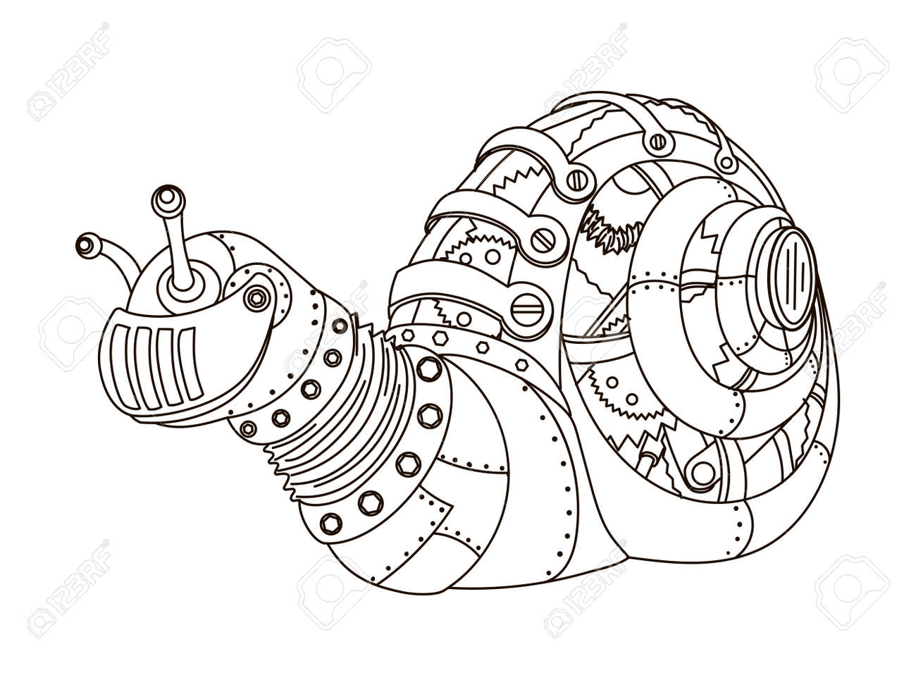 ste unk style snail mechanical animal coloring book for adult  ste unk style snail mechanical animal coloring book for adult vector illustration stock vector