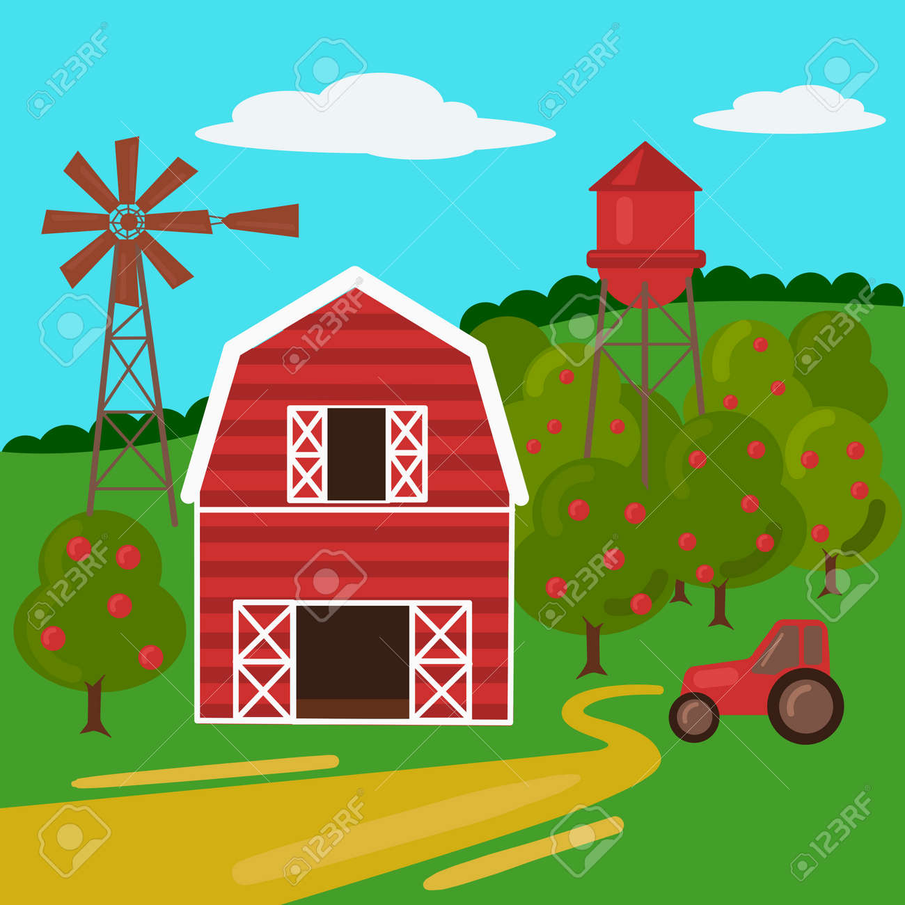 farm landscape with barn tractor and windmill cartoon colorful