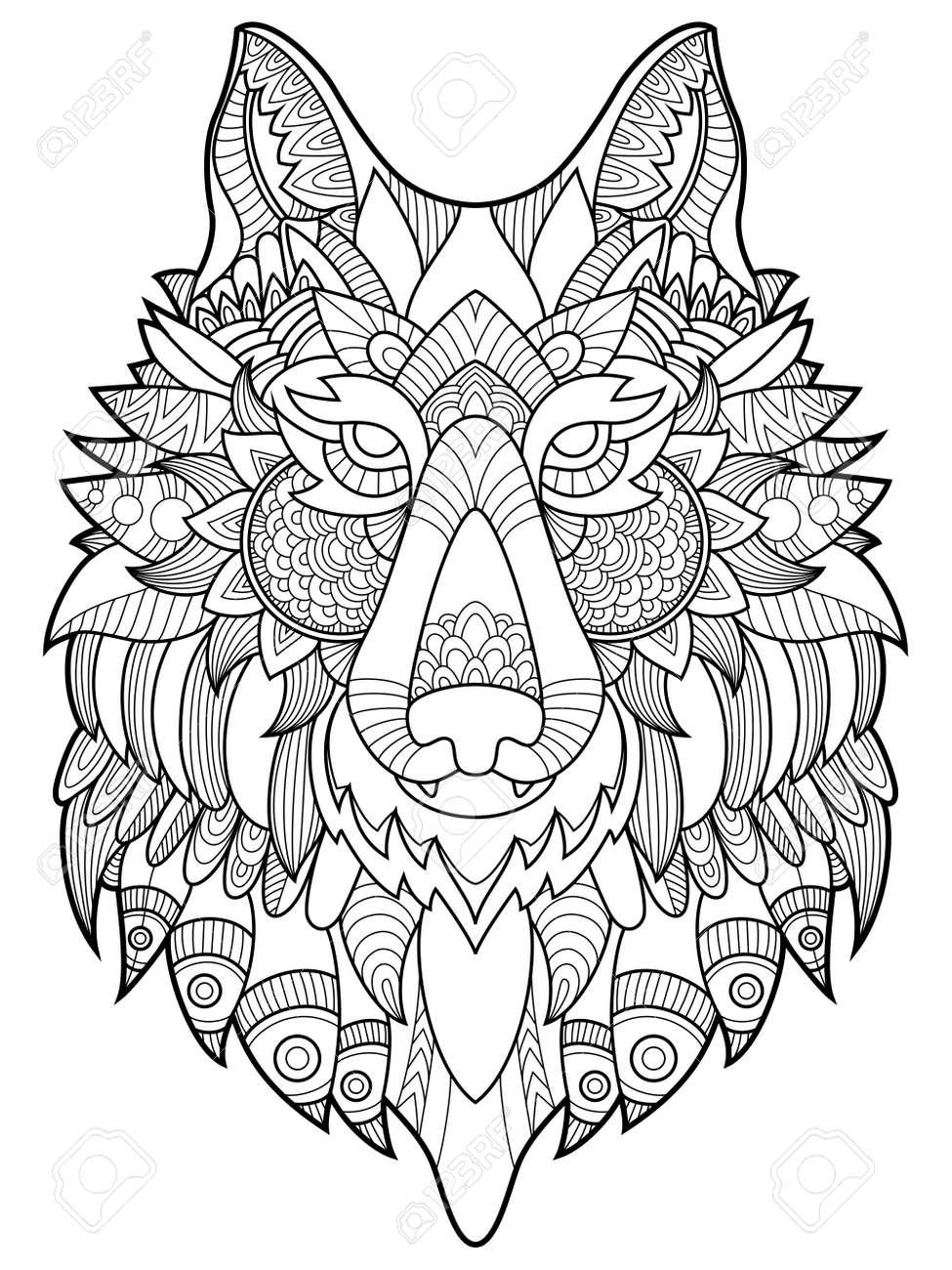 Libro Para Colorear Lobo Para La Ilustración Vectorial Adultos ...