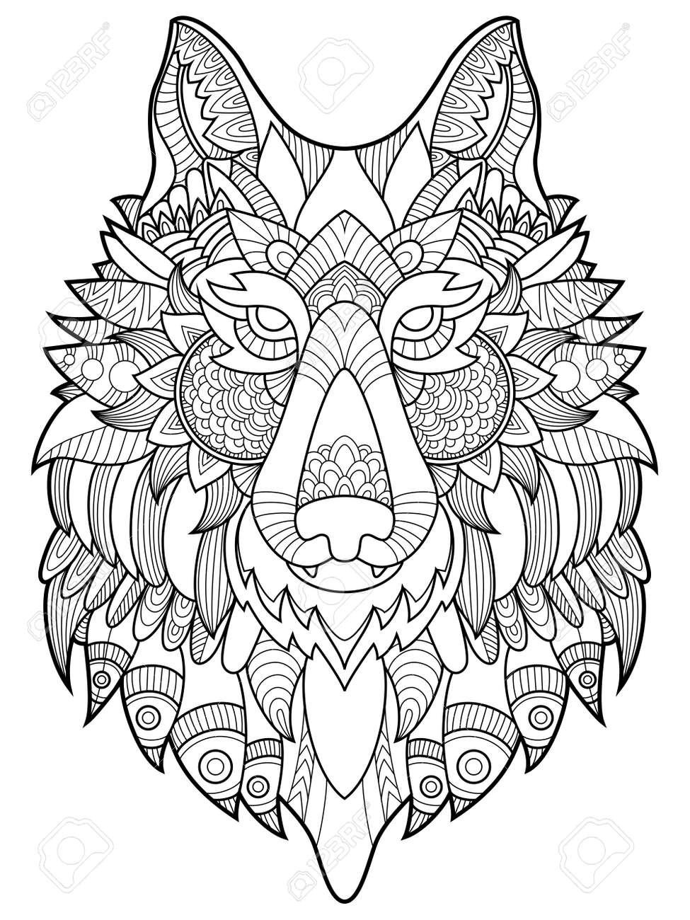 Wolf Coloring Book For Adults Vector Illustration. Anti-stress ...