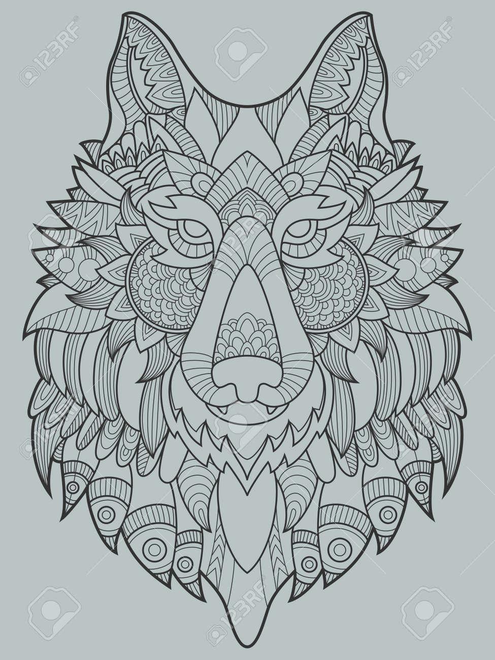 Libro Para Colorear Lobo Para La Ilustración Vectorial Adultos Antiestrés Colorear Para Adultos Plantilla Del Tatuaje Líneas Blancas Y Negras