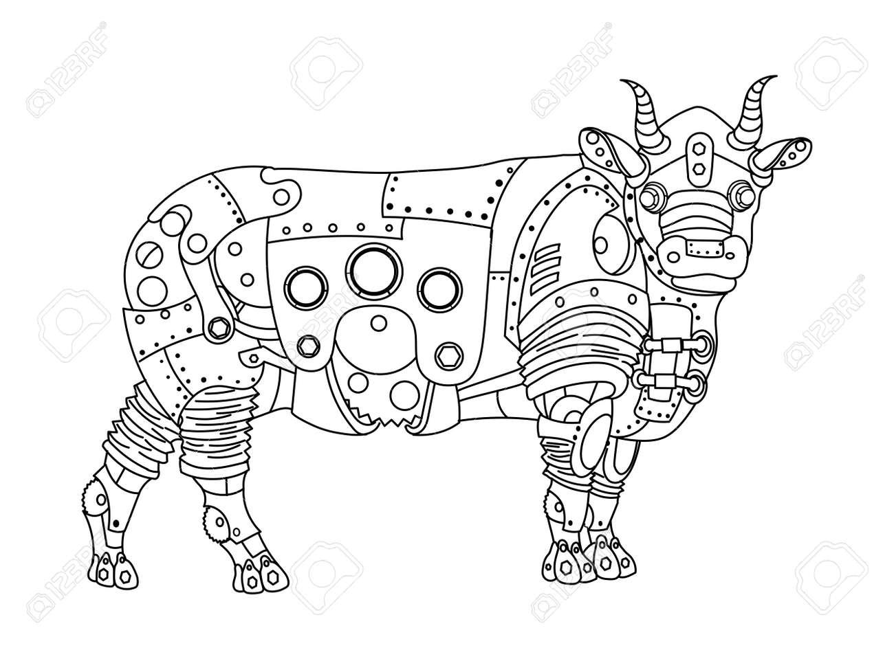 Coloriage Animaux Taureau.Steampunk Style Taureau Animal Mecanique Livre De Coloriage Pour