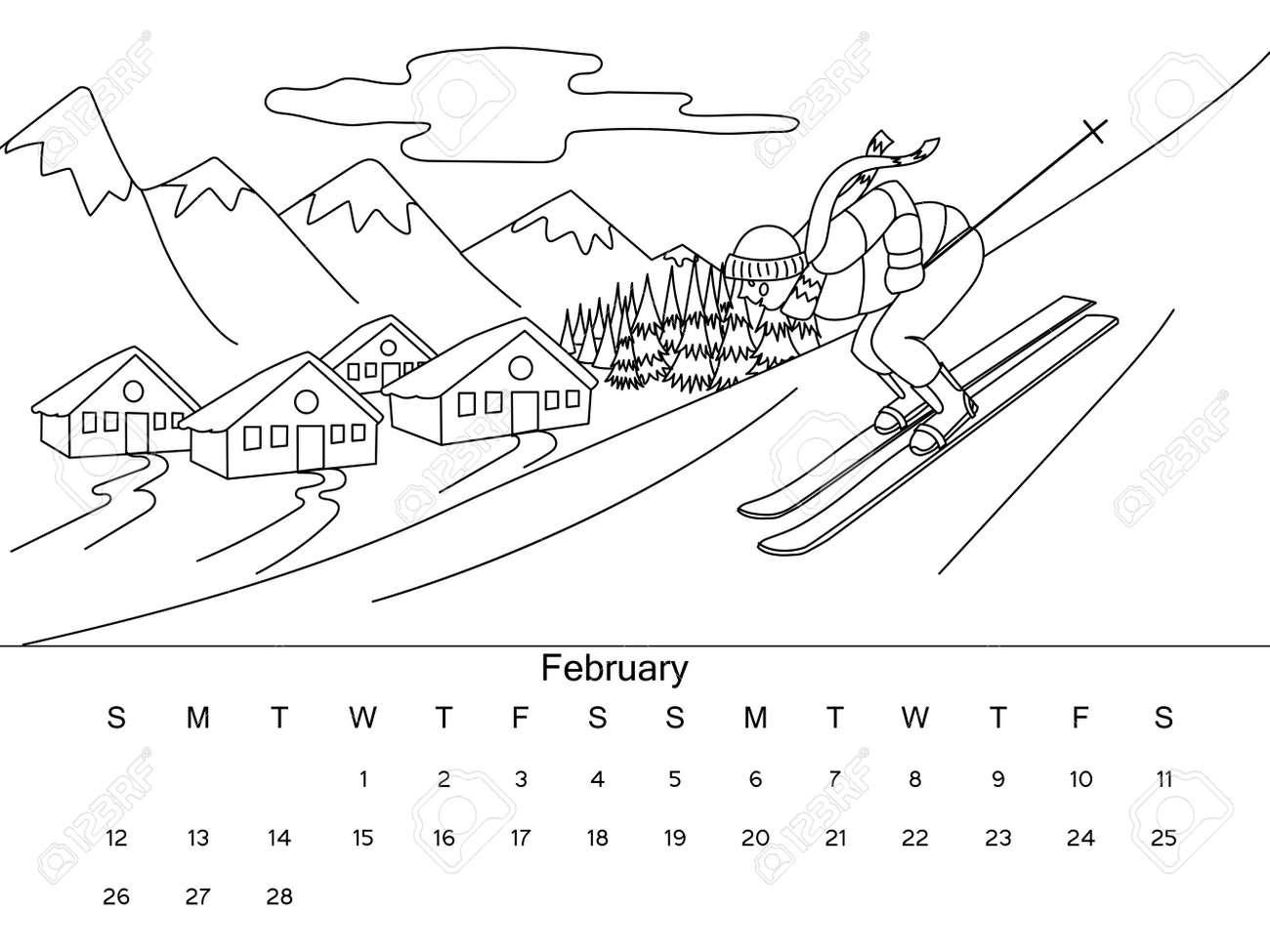 Calendario Febrero De Imagen De Libro Para Colorear Con Dibujo En
