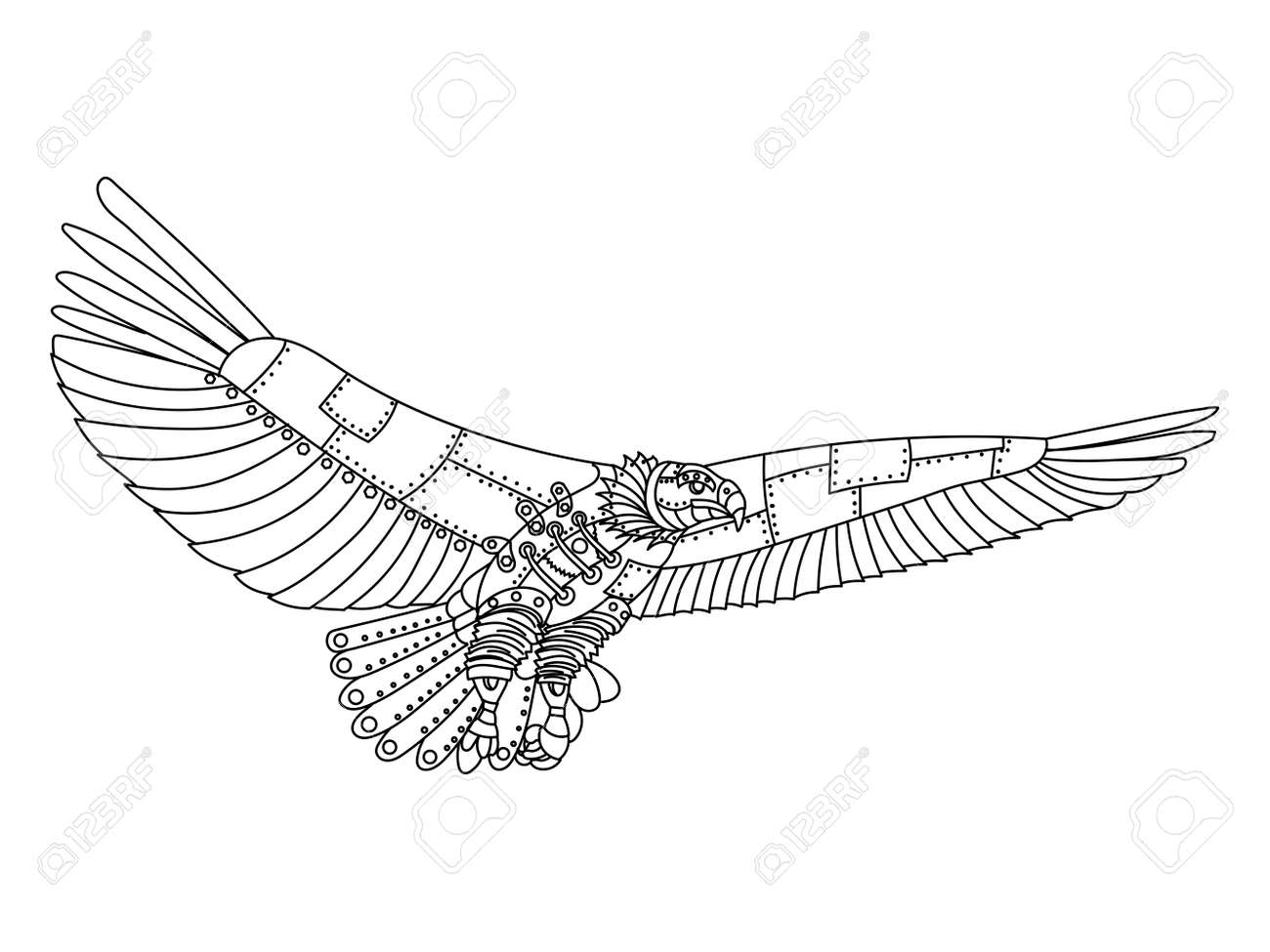 ste unk style eagle mechanical bird animal coloring book  ste unk style eagle mechanical bird animal coloring book for adult vector illustration stock