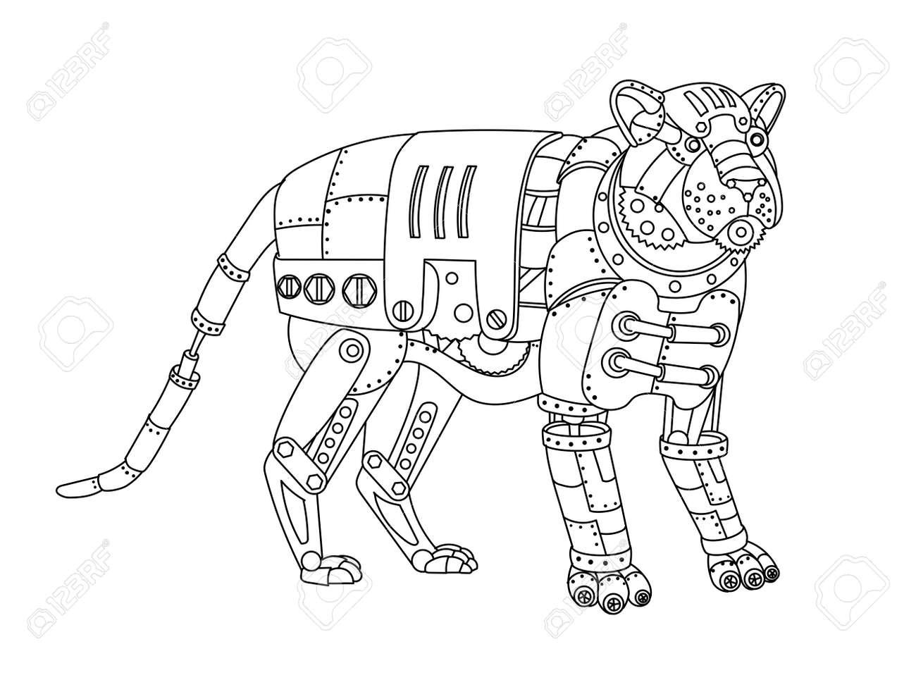 Tigre De Estilo Steampunk. Animal Mecánico Libro De Colorear Para ...