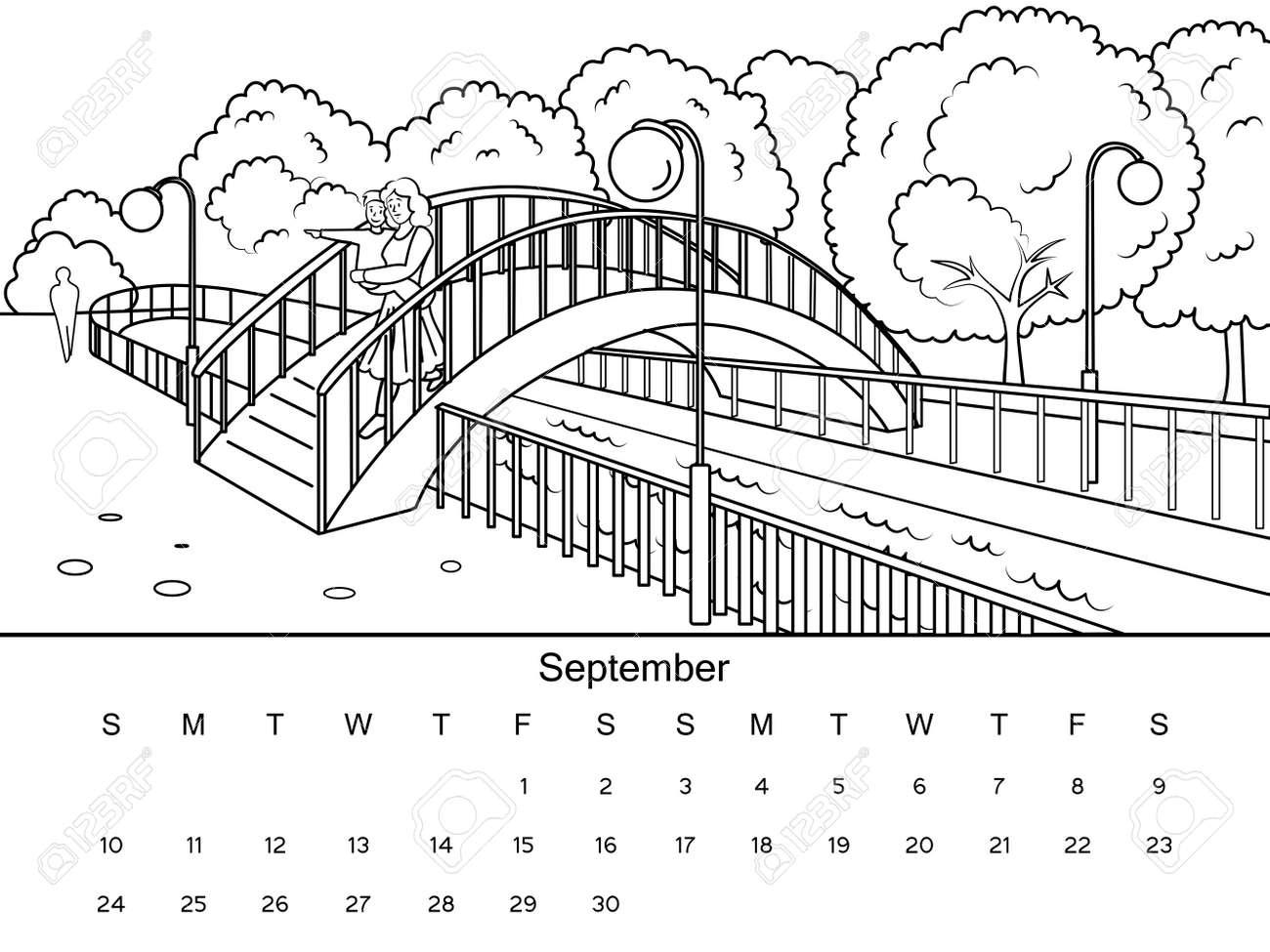 Calendario De Septiembre Con Imagen De Libro Para Colorear. Dibujo ...