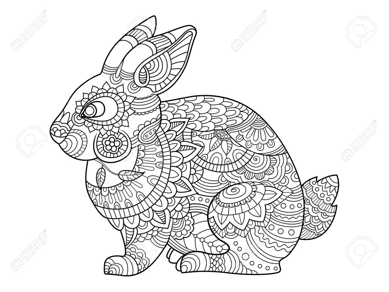 Rabbit Bunny Coloring Book For Adults Vector Illustration. Anti ...