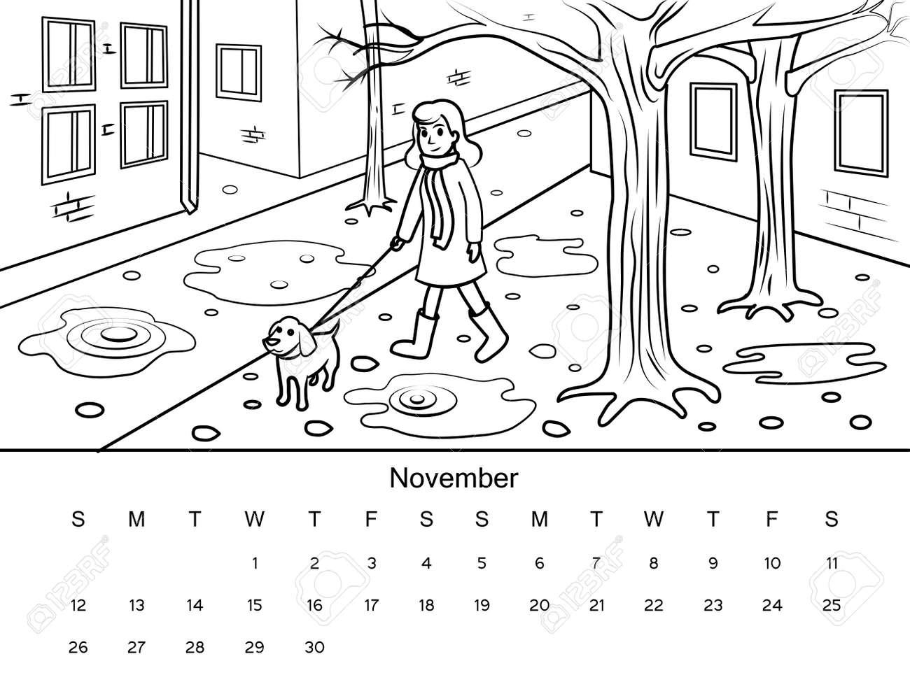 Calendario Dibujo Blanco Y Negro.Calendario Noviembre De Imagen De Libro Para Colorear Con Dibujo En Blanco Y Negro Ilustracion Vectorial De Dibujado A Mano De Dibujos Animados
