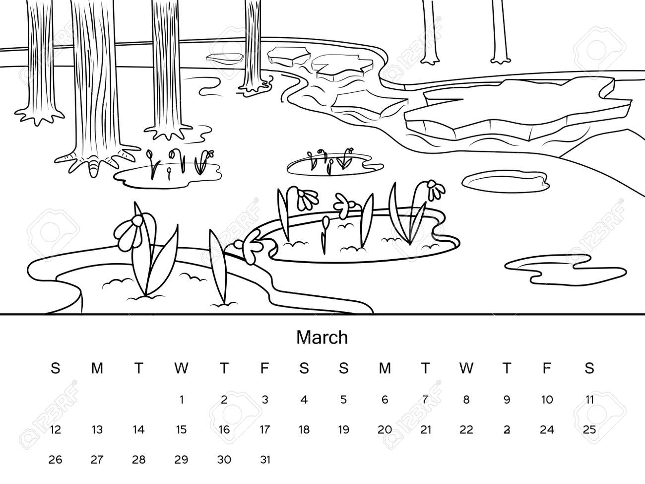 March Calendar With Coloring Book Image Black And White Drawing Cartoon Hand Drawn Vector