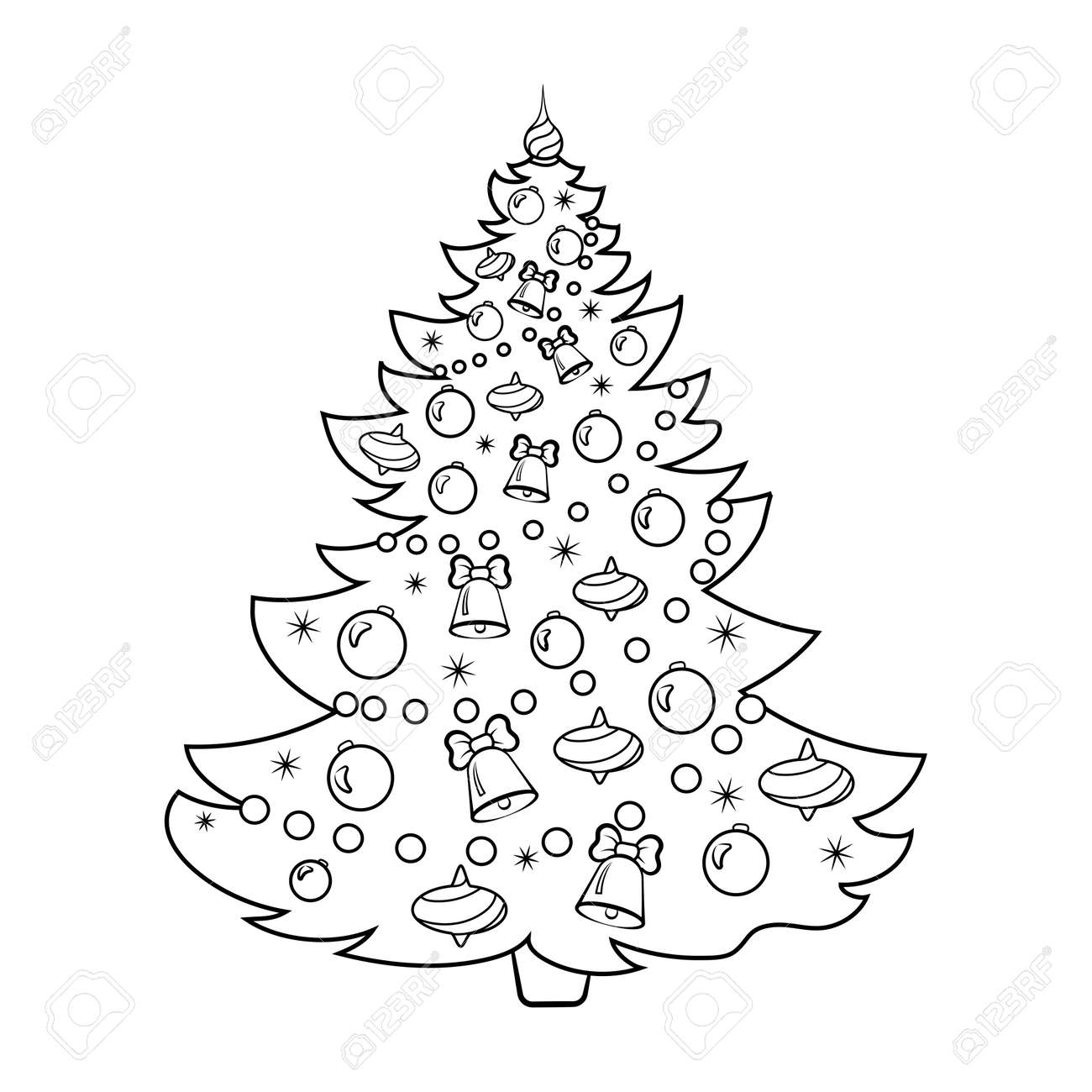 Christmas Tree Cartoon Coloring Book Vector Illustration Royalty ...