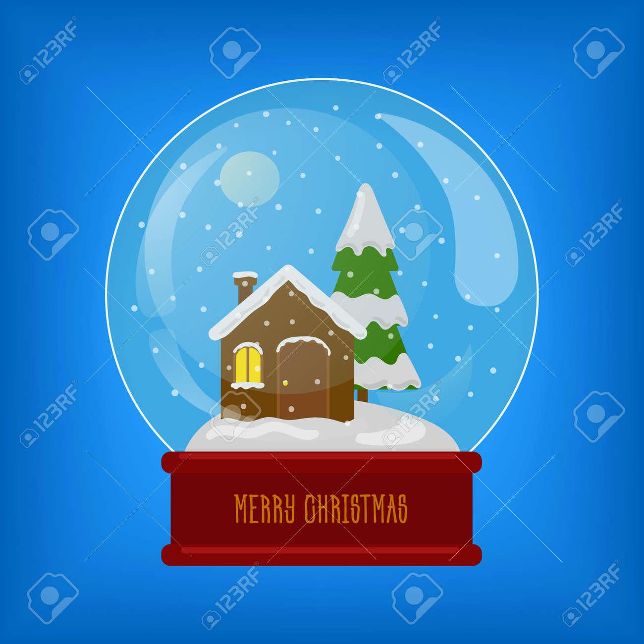 Banque dimages sphère de verre avec de la neige et de la maison cadeau de noël jouet dhiver illustration de vecteur coloré de dessin animé