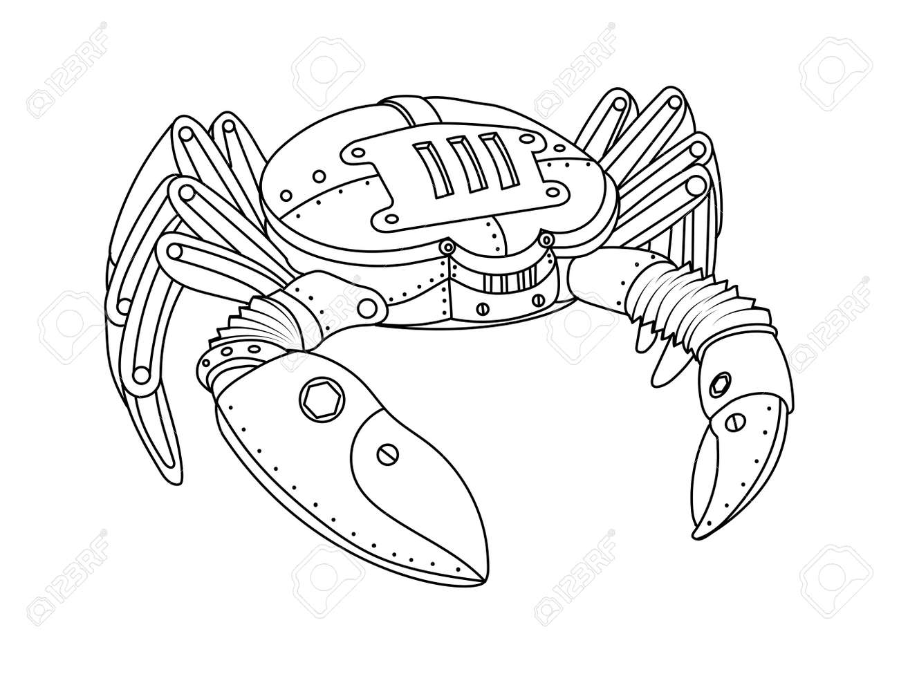 ste unk style crab mechanical animal coloring book for adult  ste unk style crab mechanical animal coloring book for adult vector illustration stock vector