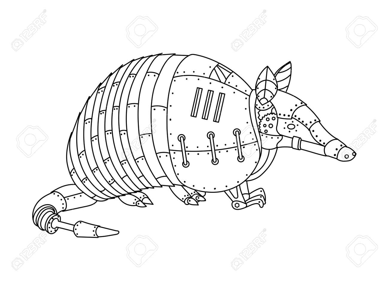 ste unk style armadillo mechanical animal coloring book for  ste unk style armadillo mechanical animal coloring book for adult vector illustration stock vector