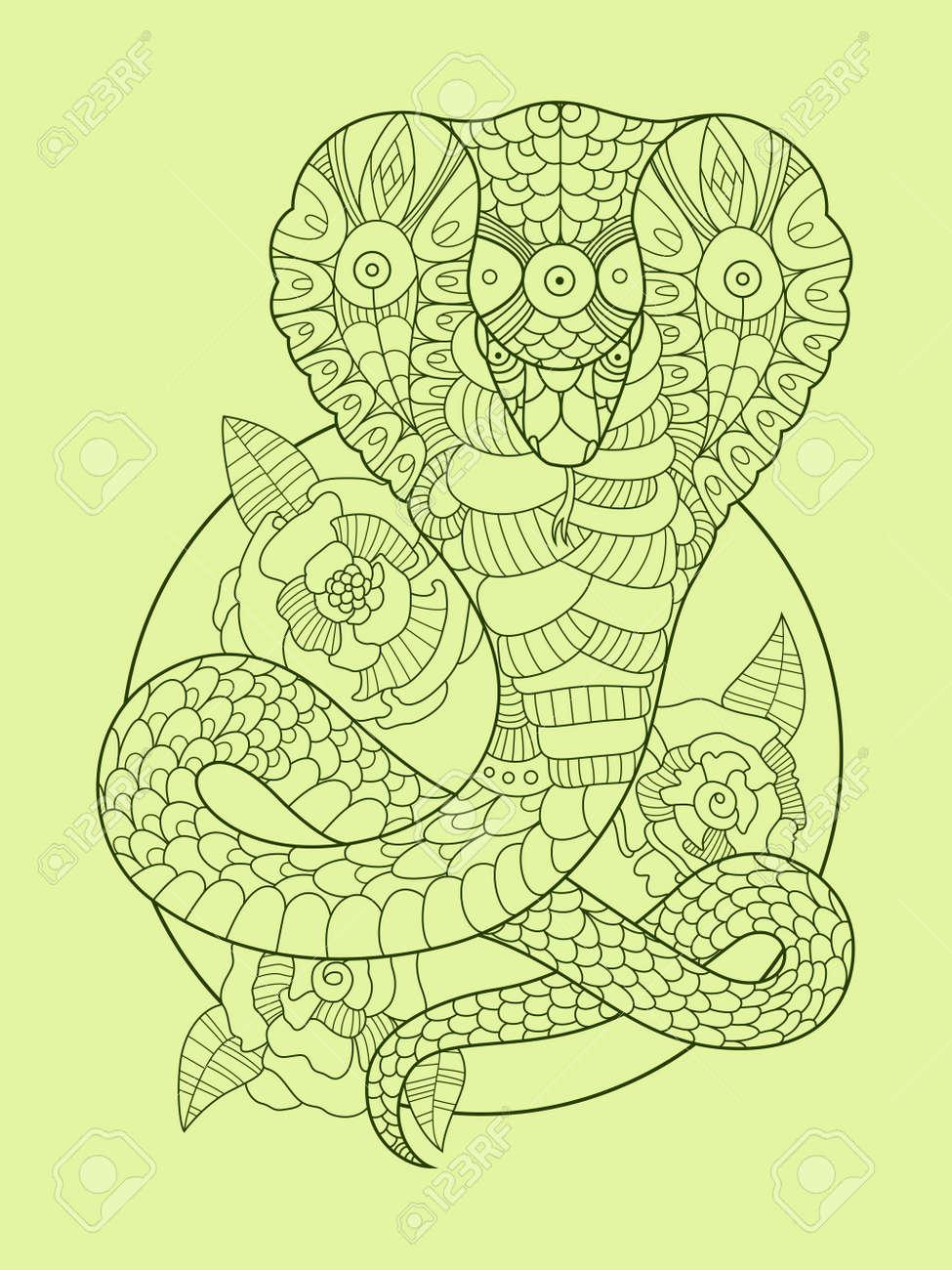 Ilustración De Vector De Cobra Serpiente Color Dibujo Plantilla Del