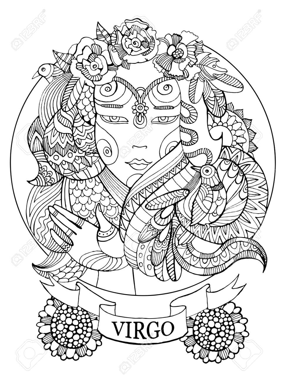 Virgo zodiac sign coloring book for adults vector illustration virgo zodiac sign coloring book for adults vector illustration anti stress coloring for adult buycottarizona Images