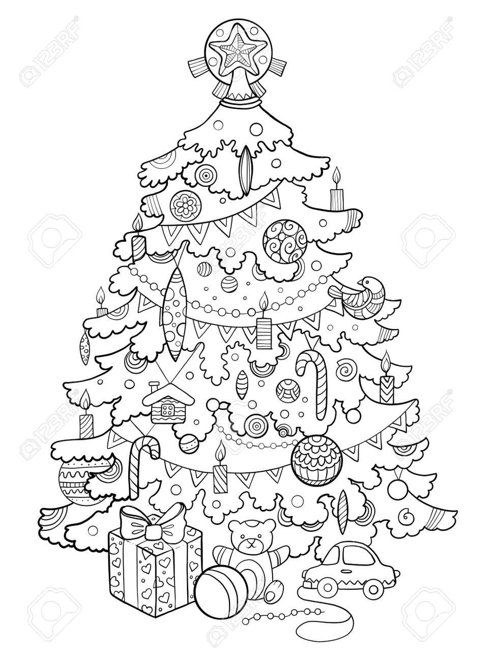 Dibujos Arboles Navidad. Awesome Dibujo Para Colorear Pap Noel Con ...