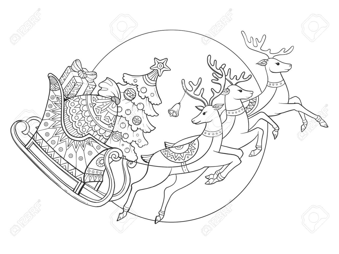 Traîneau De Noël Avec Des Rennes Cartoon Illustration Vectorielle