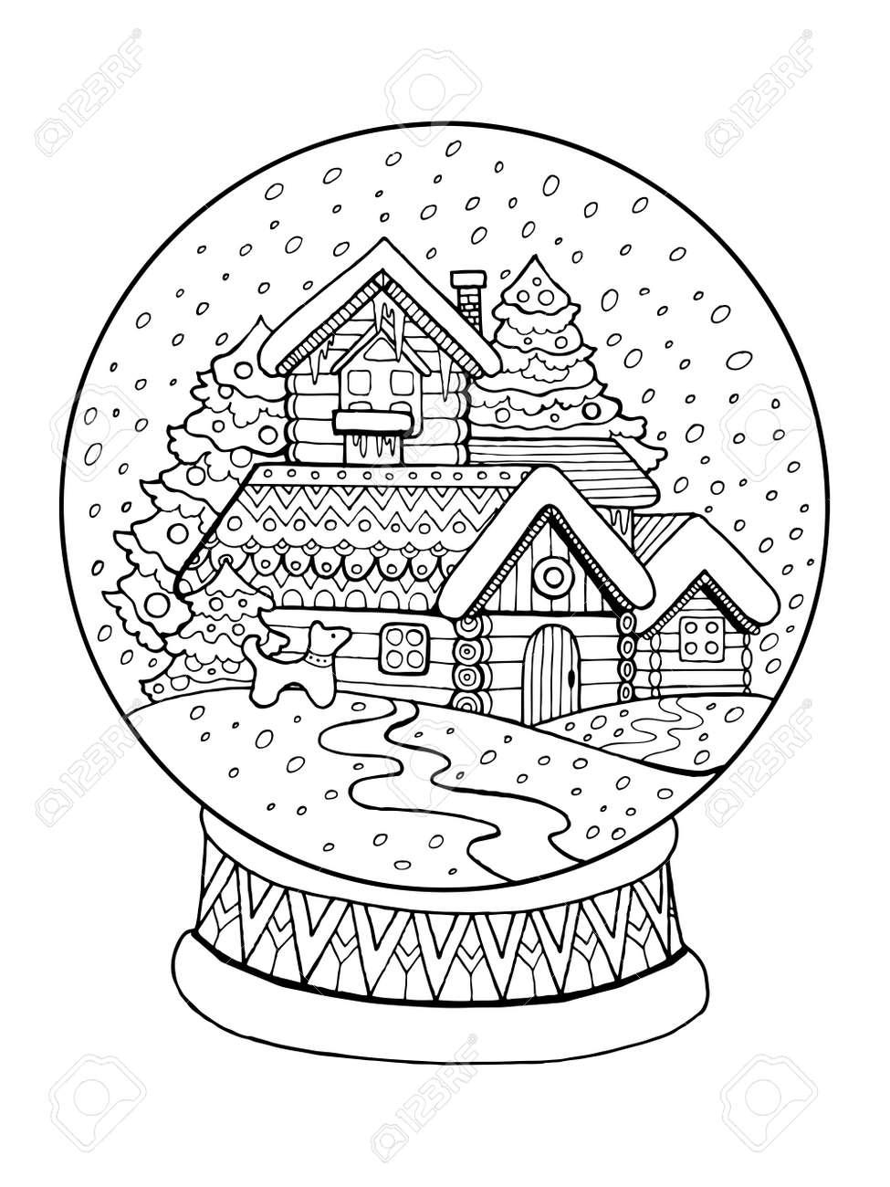 Sphere De Verre Noel Dessin Anime Livre Vector Illustration Clip Art