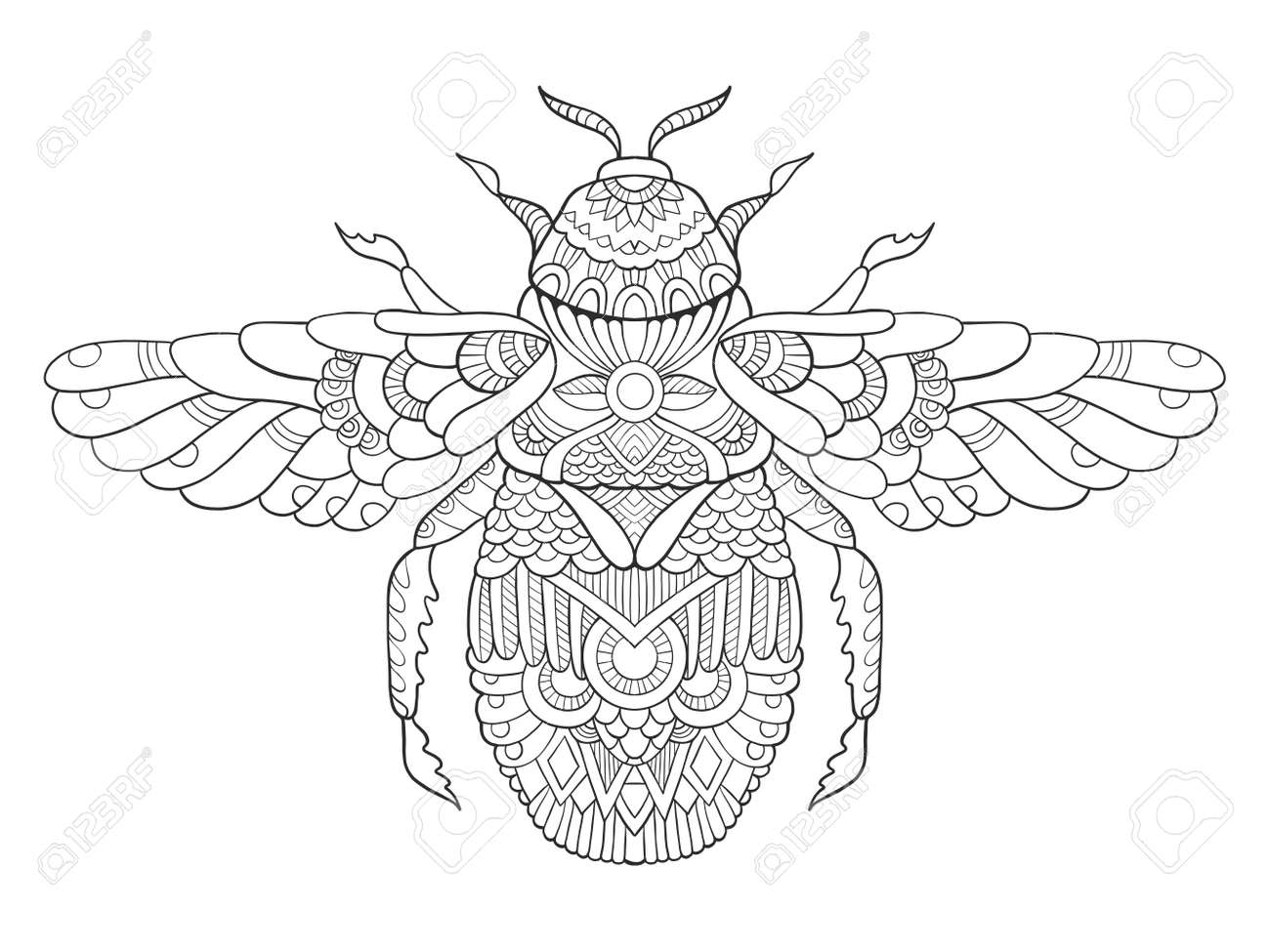 Bumblebee Coloring Book For Adults Vector Illustration. Anti-stress ...