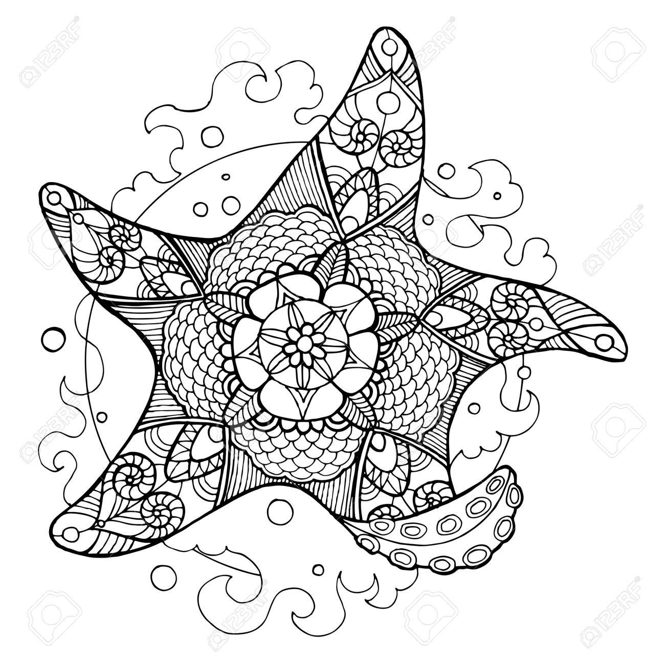 Starfish Coloring Book For Adults Vector Illustration Anti Stress Adult Tattoo