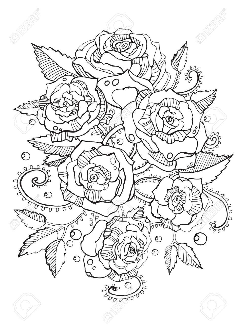大人のベクトル図のバラの花の塗り絵大人のための着色抗ストレス