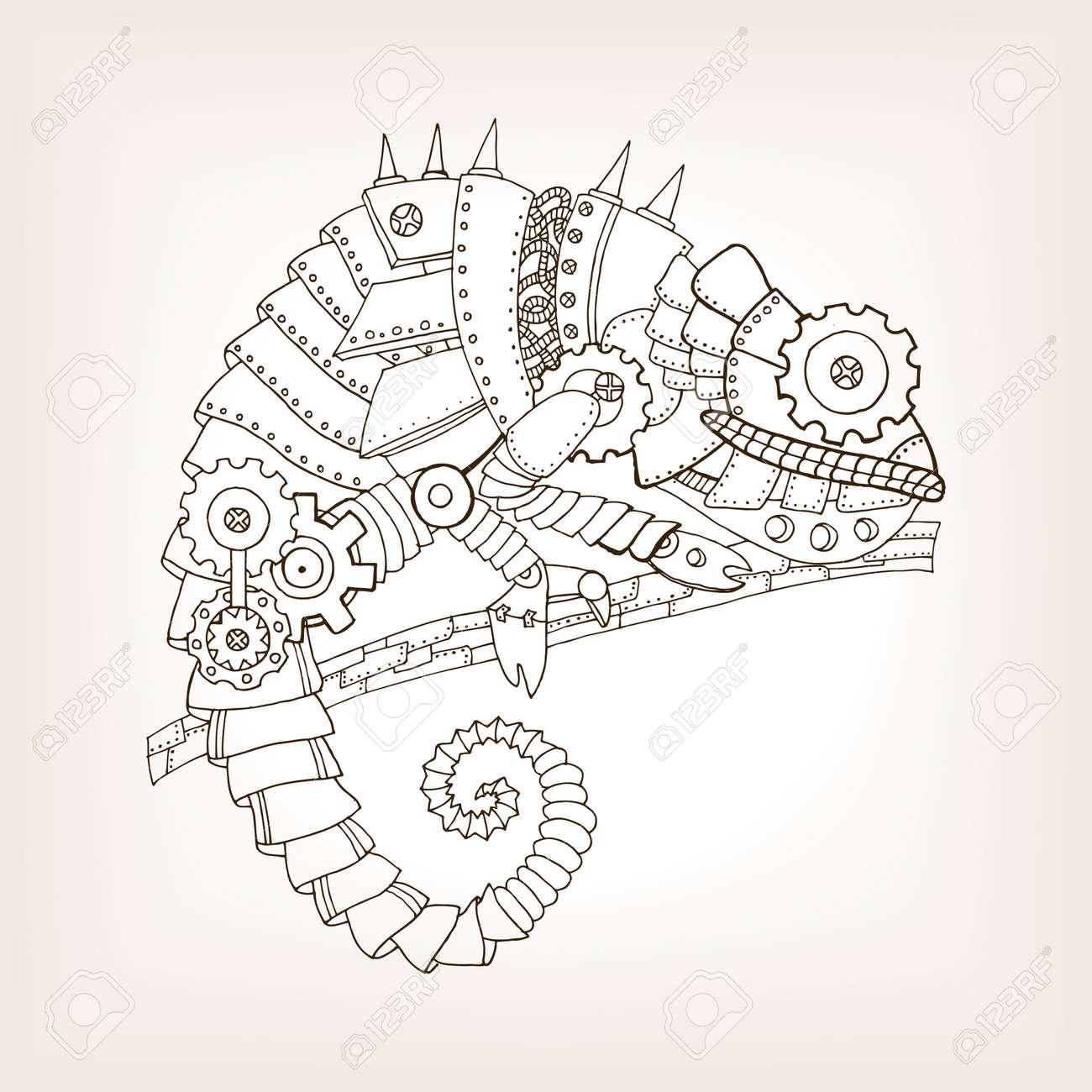 Antiguo Borrador De Camaleón Mecánico. Animal Mecánico Ilustración ...
