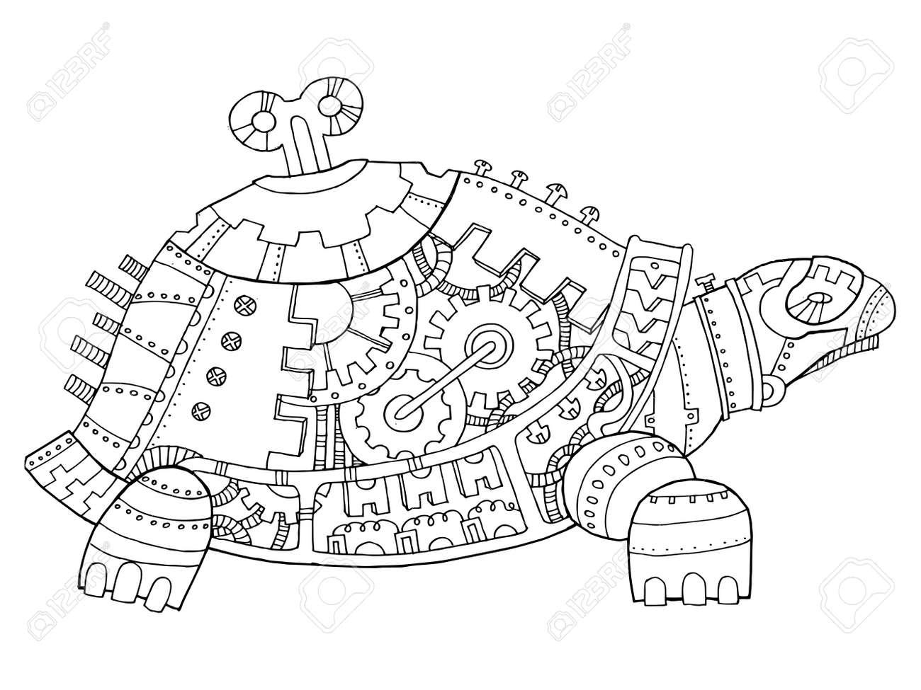 Steampunk-Stil Schildkröte Malbuch Vektor Lizenzfreie Fotos, Bilder ...