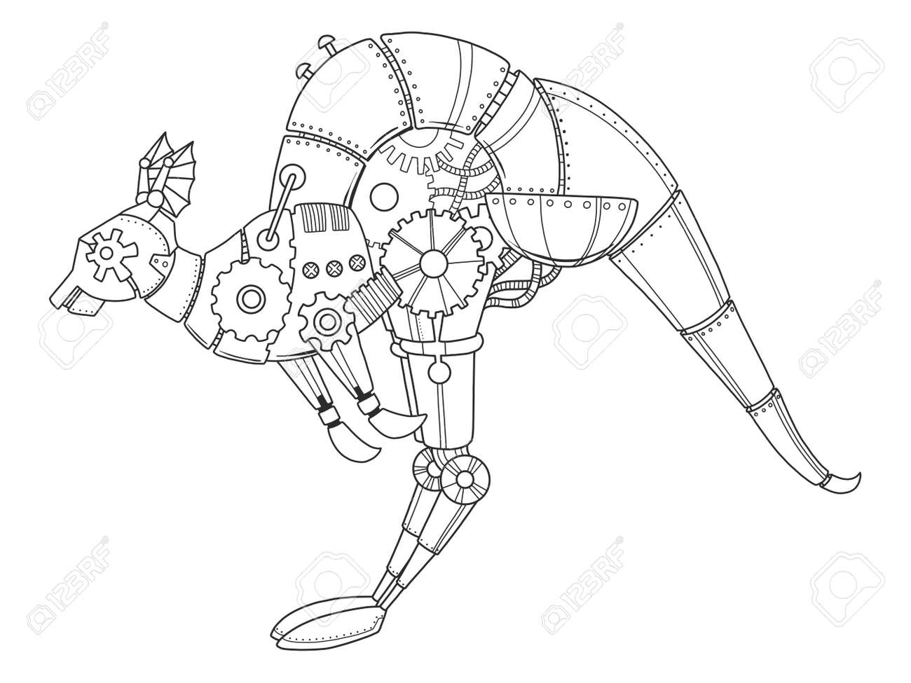 Canguro Estilo Steampunk Animal Mecánico Ilustración De Vector De ...