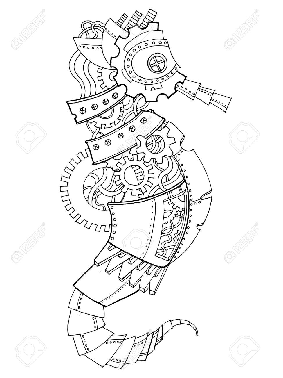 Steampunk Style Sea Horse Coloring Book Vector Stock Photo, Picture ...