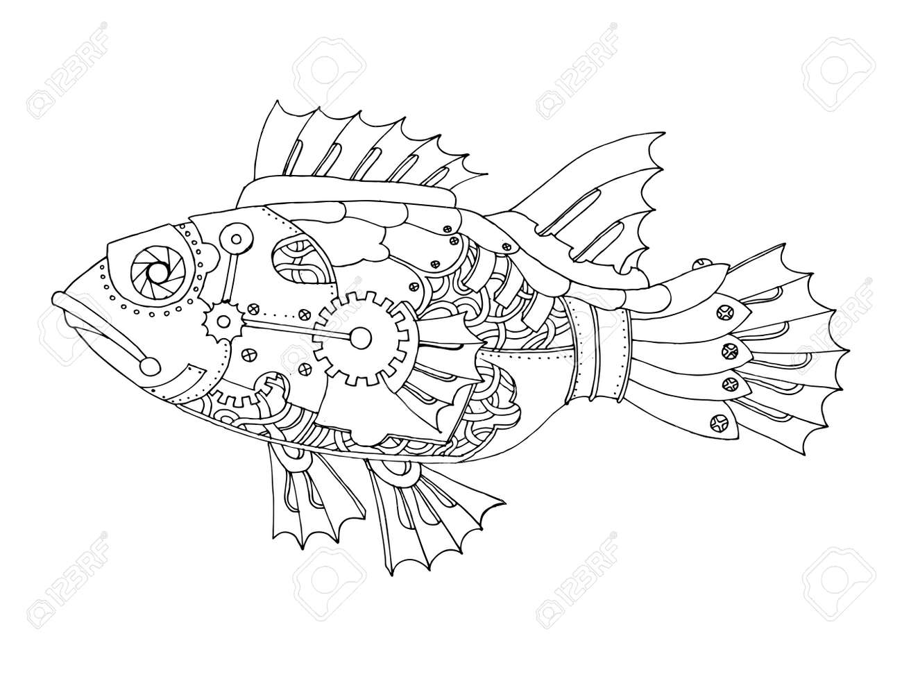 ste unk style fish coloring book vector royalty free cliparts  ste unk style fish coloring book vector stock vector 71412527