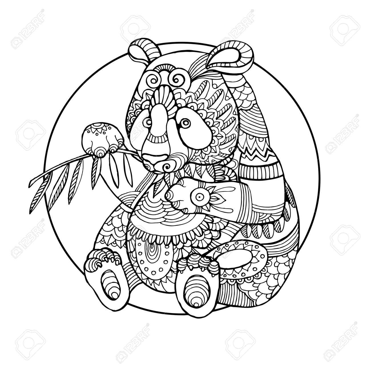 Oso Panda Libro Para Colorear Ilustración Vectorial