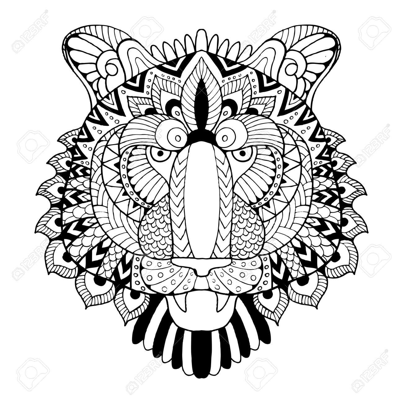 tiger coloring book vector illustration royalty free cliparts